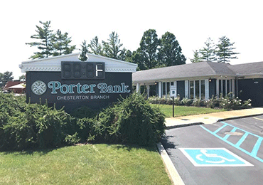 Porter Bank sign at Chesterton branch location